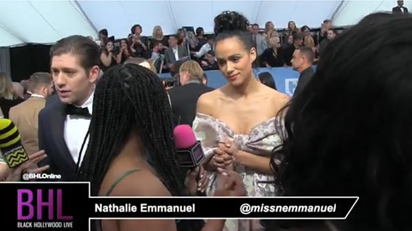 Nathalie Emmanuel Chats With Black Hollywood Live About Halle Berry, Valentine's Day, And The SAG Awards