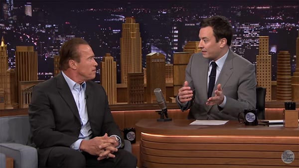Arnold Schwarzenegger Gives Jimmy Fallon Tips About Smoking Cigars During An Interview On The Tonight Show