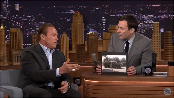 Arnold Schwarzenegger Tells Jimmy Fallon That He Crushes Things With A Tank To Raise Money For After School Programs