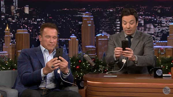 Arnold Schwarzenegger And Jimmy Fallon Have A Snapchat Interview On The Tonight Show
